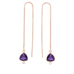 Silver with Pink Finish Shiny Threader Drop Earrin g with Amethyst-Cut