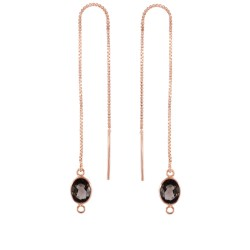 Silver with Pink Finish Shiny Threader Drop Earrin g with Smokey-Cut