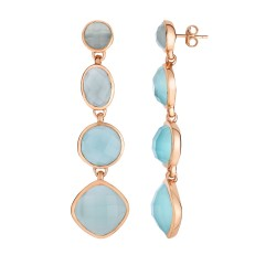 Silver with Pink Finish Shiny Drop Earring with Pu sh Back Clasp with Aqua Chalcedony-Checker Cut