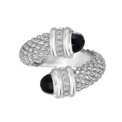 Silver Popcorn Bypass Ring With Diamonds And Black Onyx