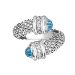 Silver Popcorn Bypass Ring With Diamonds And Blue Topaz