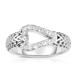 Woven Silver Hook Ring With White Sapphires.