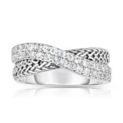 Woven Silver Crossover Ring With White Sapphires.
