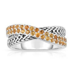 Woven Silver Crossover Ring With Yellow Sapphires.