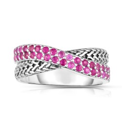 Woven Silver Crossover Ring With Pink Sapphires.