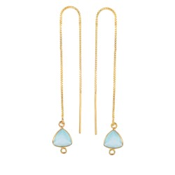 Silver with Yellow Finish Shiny Threader Drop Earr ing with Aqua Chalcedony-Cut