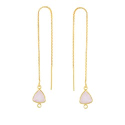 Silver with Yellow Finish Shiny Threader Drop Earr ing with Rose Quartz-Cut