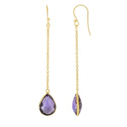 Silver with Yellow Finish Shiny Drop Earring with Euro Wire Clasp with Amethyst-Brolite
