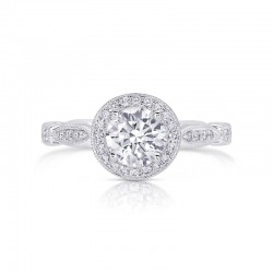 14K White Gold Semi Mount Round Halo Engagement Ring