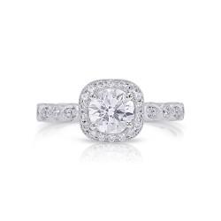14K White Gold Semi Mount Cushion Halo Engagement Ring