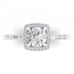 14K White Gold Semi Mount Cushion Halo Engagement Ring