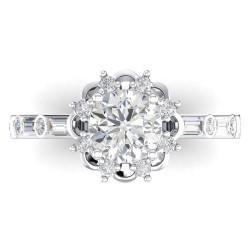 14K White Gold Semi Mount Baguettes Engagement Ring