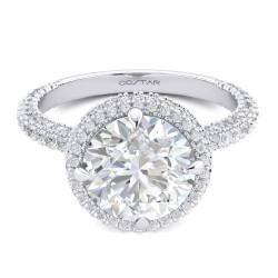 14K White Gold Semi Mount Round Halo Engagement Ring
