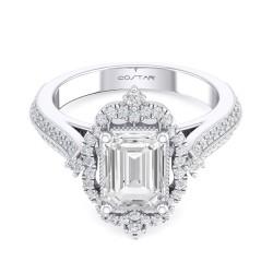 14K White Gold Semi Mount Emerald Engagement Ring