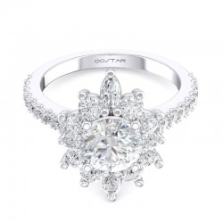 14K White Gold Semi Mount Vintage Engagement Ring