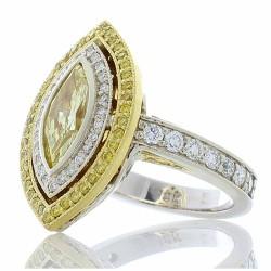 18K Two-Tone Diamond Gemstone Ring