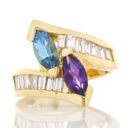 14K Yellow Gold Diamond Gemstone Ring
