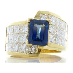 18K Yellow Gold Sapphire Gemstone Ring