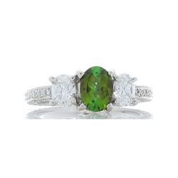 Platinum Tourmaline Gemstone Ring