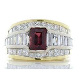14K Two-Tone Garnet Gemstone Ring
