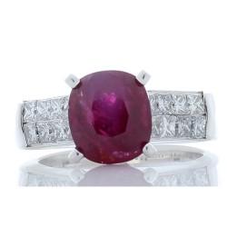 18K White Gold Ruby Gemstone Ring