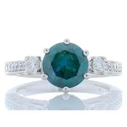 18K White Gold Diamond Gemstone Ring
