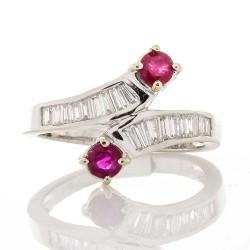14K White Gold Ruby Gemstone Ring