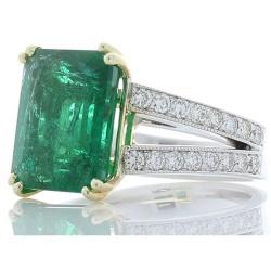 18K Two-Tone Emerald Gemstone Ring