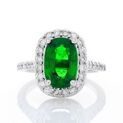 14K White Gold Tsavorite Gemstone Ring