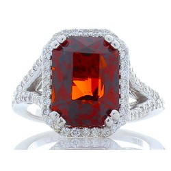 18K White Gold Garnet Gemstone Ring