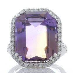 18K White Gold Ametrine Gemstone Ring