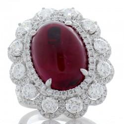 18K White Gold Rubelite Gemstone Ring