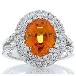 Platinum Spessartite Gemstone Ring