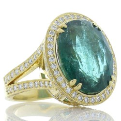 18Kt Yellow Gold Emerald Gemstone Ring