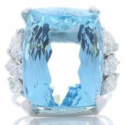 14K White Gold Aquamarine Gemstone Ring