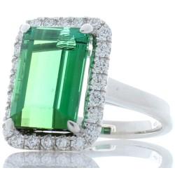18K White Gold Tourmaline Gemstone Ring