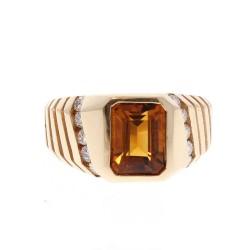 14K Yellow Gold Citrine Gemstone Ring