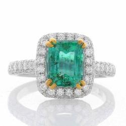 18K White Gold Emerald Gemstone Ring