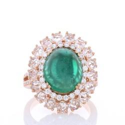 18K Rose Gold Emerald Gemstone Ring