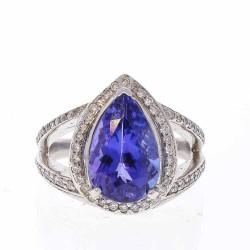 14K White Gold Tanzanite Gemstone Ring