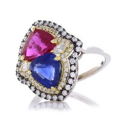 18K Two-Tone Mixed Gemstone Ring