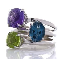 14K White Gold Mixed Gemstone Ring