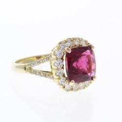18K Yellow Gold Rubelite Gemstone Ring