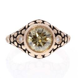 18K Rose Gold Diamond Gemstone Ring
