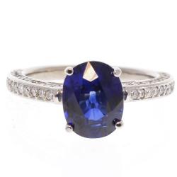 14K White Gold Blue Sapp Gemstone Ring