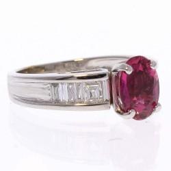 14K White Gold Rubelite Gemstone Ring
