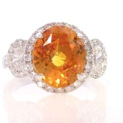18K White Gold Orange Sapp Gemstone Ring
