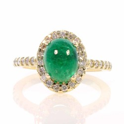 18K Yellow Gold Emerald Gemstone Ring