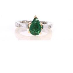 Platinum/Yellow Gold Emerald Gemstone Ring