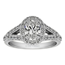 Oval Cut Split Shank Halo Diamond Semi Mount Engagement Ring